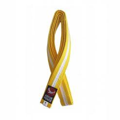 Karate Belt - Yellow with White Stripe