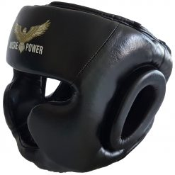 Leather Head Guard (full face) - Black