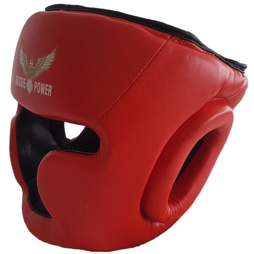 Red leather head guard