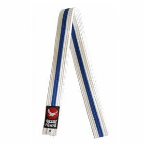 White Karate Belt with Blue Stripe