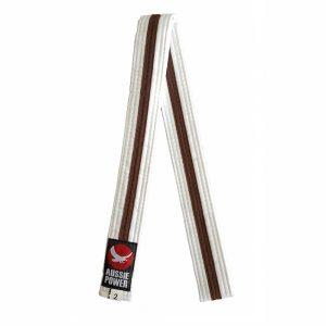 White Karate Belt with Brown Stripe