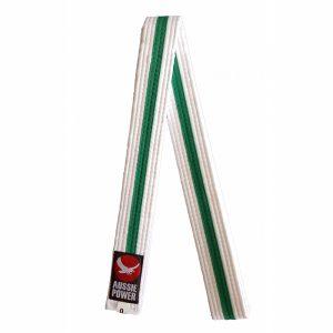 White Karate Belt with Green Stripe