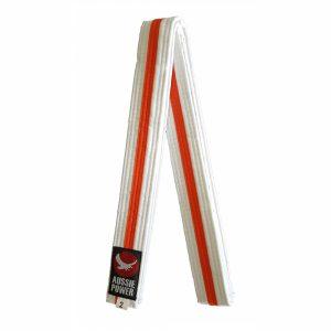 White Karate Belt with Orange Stripe