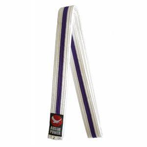 White Karate Belt with Purple Stripe