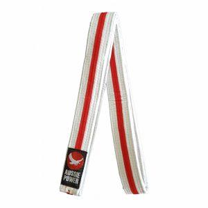 White Karate Belt with Red Stripe