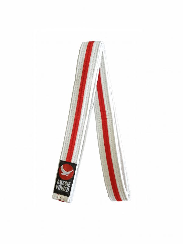 White Karate Belt with Red Stripe