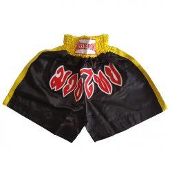 Muai Thai Shorts - black with yellow, white and red