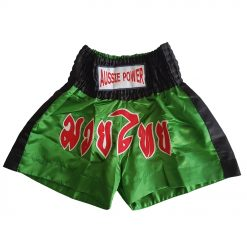 Muai Thai Shorts - green with black, red and white