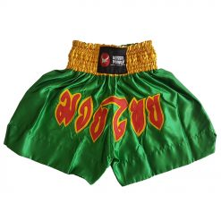 Muai Thai Shorts - green with yellow and red